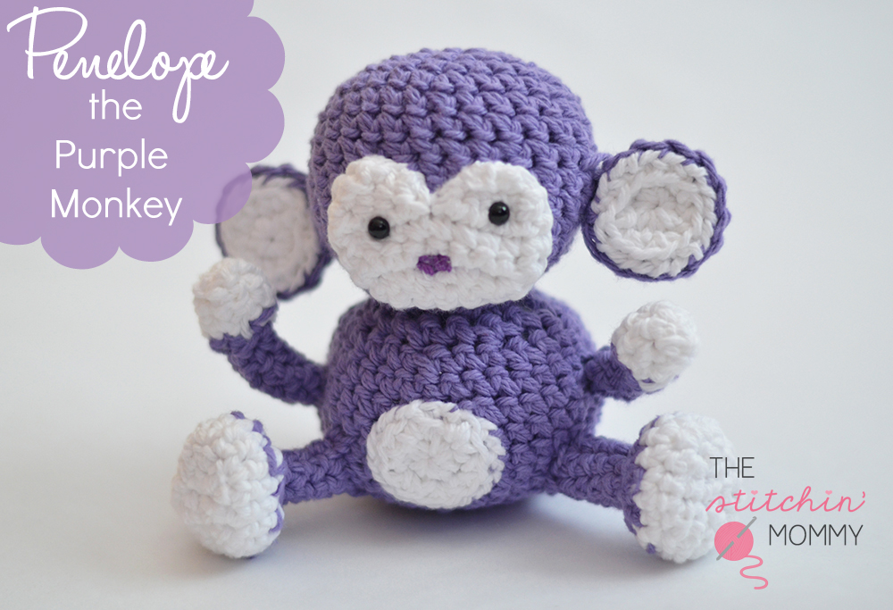 Amigurumi Monkey Pattern Free : Penelope the purple monkey free pattern