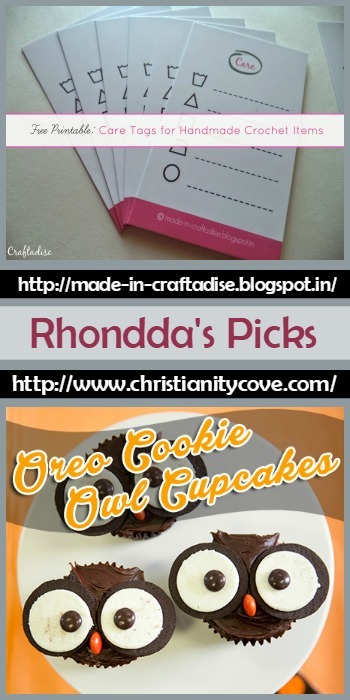 Rhondda's Picks |Care Tags for Handmade Items/Oreo Cookie Owl Cupcakes | Tuesday PIN-spiration Link Party