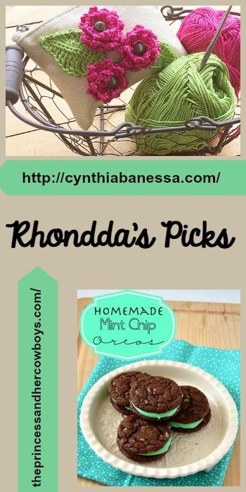 Rhondda's Picks |Canvas Pouch with Crochet Flowers/Homemade Mint Chip Oreos | Tuesday PIN-spiration Link Party