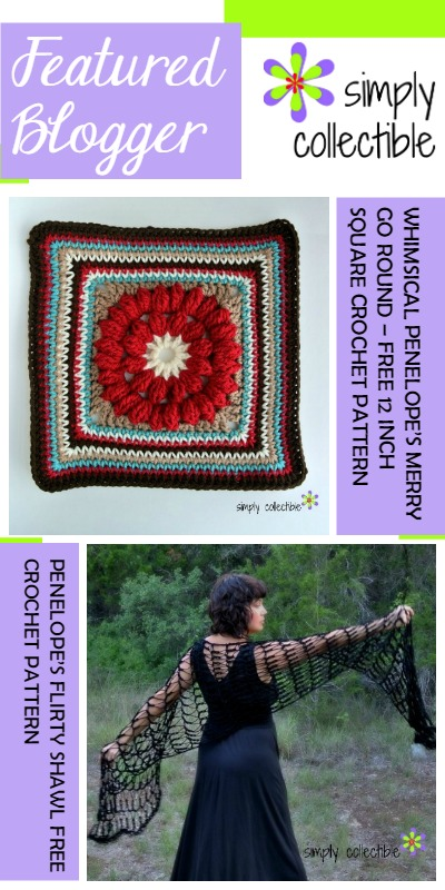 Pinspiration Link Pary Featured Blogger Simply Collectible Penelopes Merry GO Round Square and Flirty Shawl Patterns