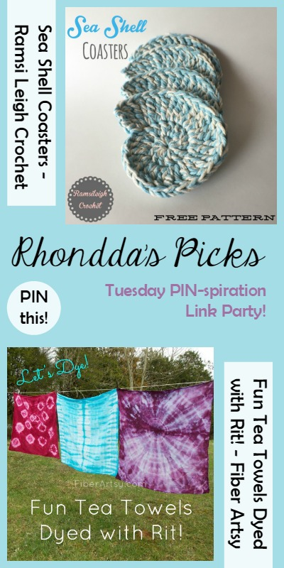 Rhondda's Picks |Sea Shell Coasters/Fun Tea Towels Dyed with Rit! | Tuesday PIN-spiration Link Party