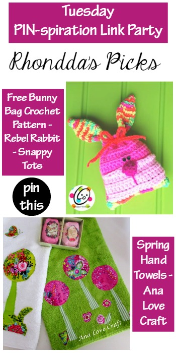Rhondda's Picks |EFree Bunny Bag Crochet Pattern/Spring Hand Towels | Tuesday PIN-spiration Link Party