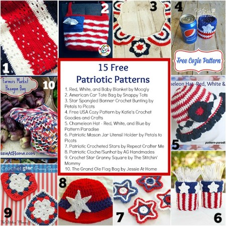 15 Free Patriotic Patterns compiled by The Stitchin' Mommy | www.thestitchinmommy.com #patriotic #redwhiteandblue #USA #America #4thofJuly #MemorialDay #LaborDay