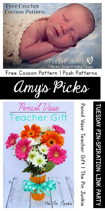 Amy's Picks | Free Cocoon Pattern/Pencil Vase Teacher Gift| Tuesday PIN-spiration Link Party www.thestitchinmommy.com
