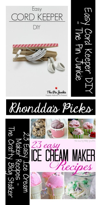 Rhondda's Picks |Easy Cord Keeper/ 23 Easy Ice Cream Maker Recipes | Tuesday PIN-spiration Link Party