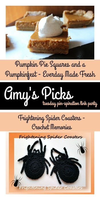 Amy's Picks | Pumpkin Pie Squares/Frightening Spider Coasters | Tuesday PIN-spiration Link Party www.thestitchinmommy.com