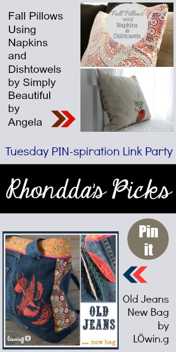 Rhondda's Picks | Fall Pillows Using Napkins and Dishtowels/Old Jeans New Bag | Tuesday PIN-spiration Link Party www.thestitchinmommy.com