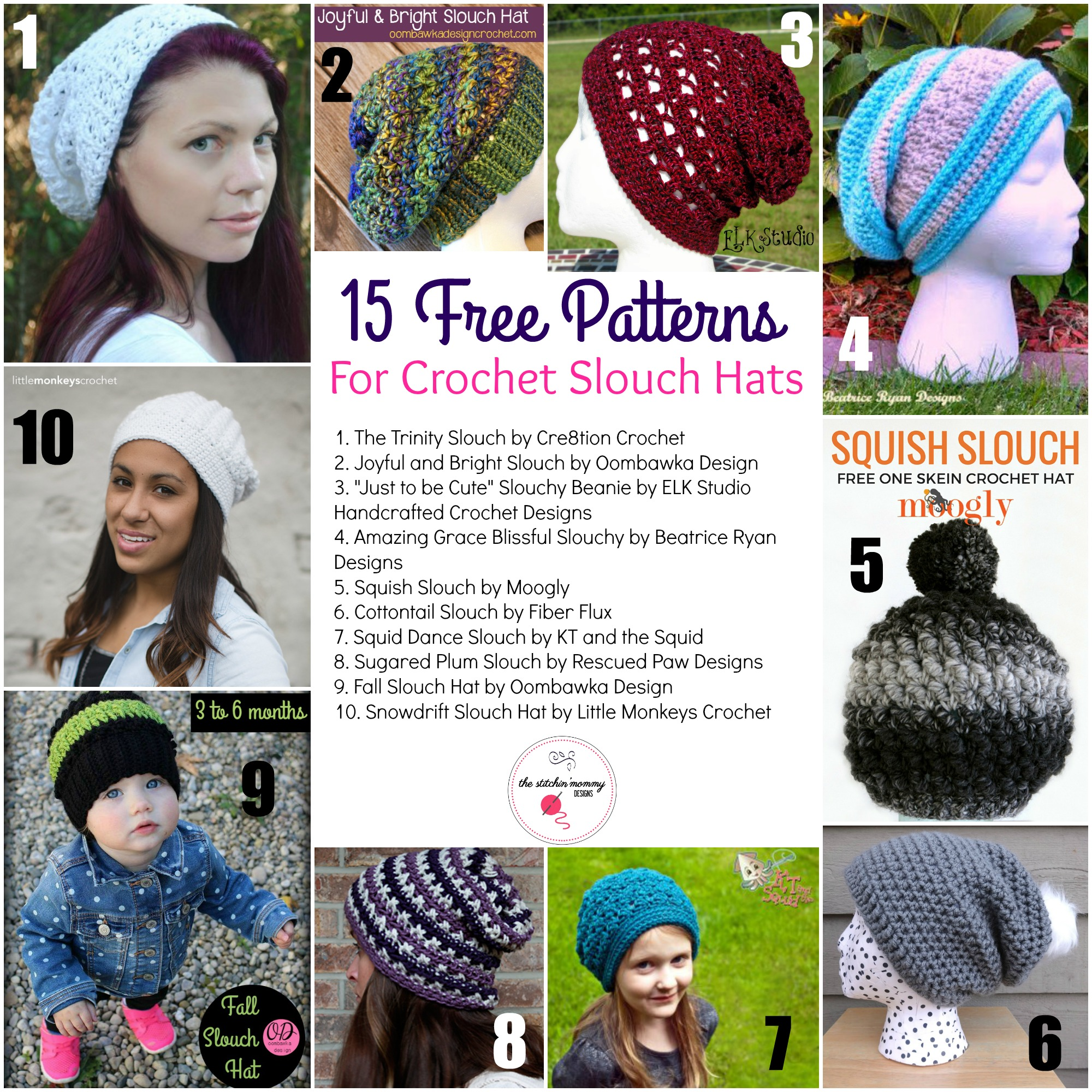 15 Free Patterns for Crochet Slouch Hats - The Stitchin Mommy