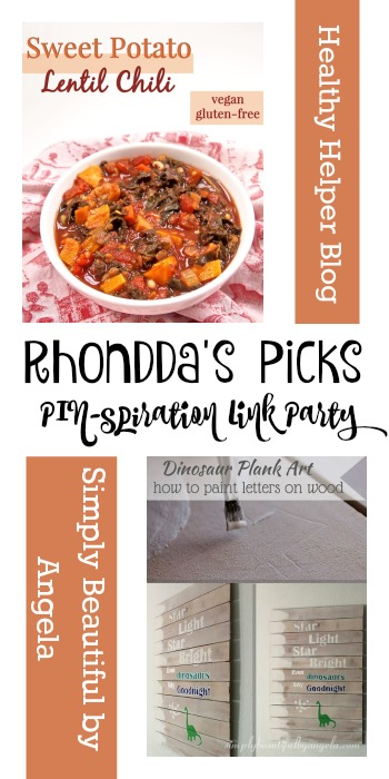 Rhondda's Picks | Sweet Potato Lentil Chili/Dinosaur Plank Art| Tuesday PIN-spiration Link Party www.thestitchinmommy.com