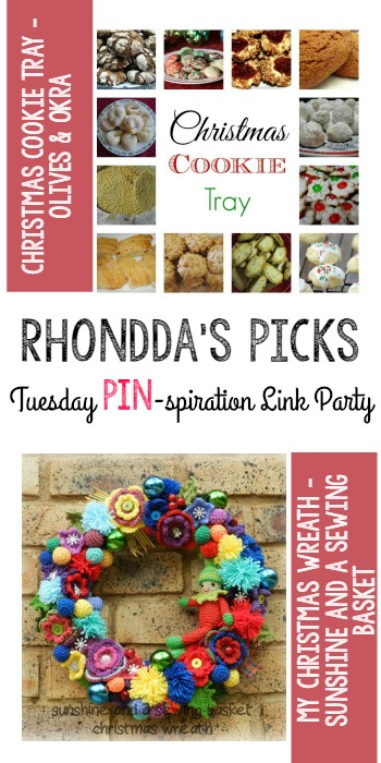 Rhondda's Picks | Christmas Cookie Tray/Christmas Wreath| Tuesday PIN-spiration Link Party www.thestitchinmommy.com