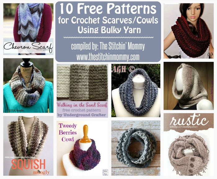 10 free patterns for crochet scarvescowls using bulky yarn the 10 free patterns for crochet scarvescowls using bulky round up compiled by the dt1010fo