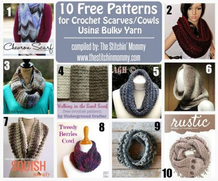 10 Free Patterns for Crochet Scarves/Cowls Using Bulky - Round Up compiled by The Stitchin' Mommy | www.thestitchinmommy.com