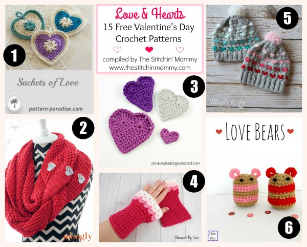 Love & Hearts! 15 Free Valentine's Day Crochet Patterns compiled by The Stitchin' Mommy | www.thestitchinmommy.com