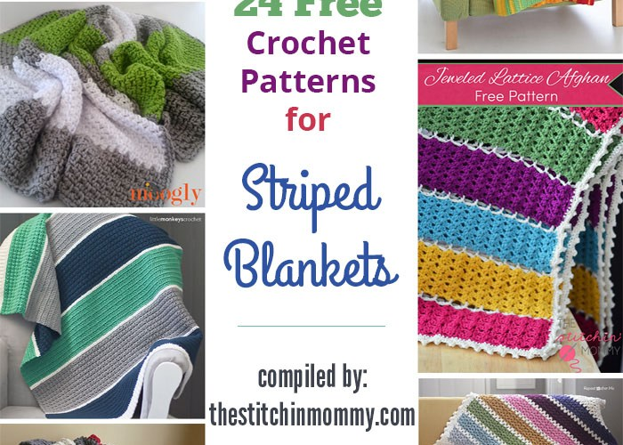 24 Free Crochet Patterns for Striped Blankets