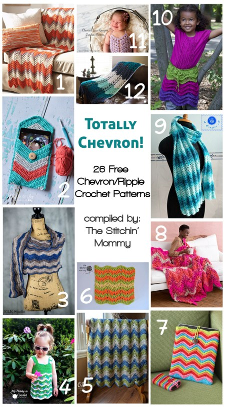 26 Free Chevron-Ripple Crochet Patterns numbered