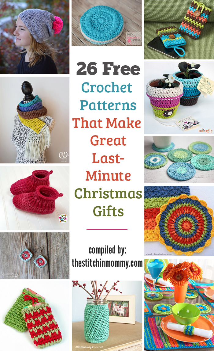 26 Free Crochet Patterns That Make Great Last Minute Christmas Gifts compiled by The Stitchin' Mommy | www.thestitchinmommy.com