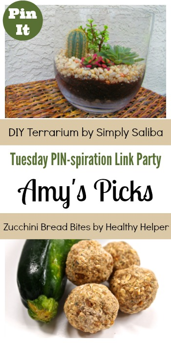 Amy's Picks | DIY Terrarium/Zucchini Bread Bites | Tuesday PIN-spiration Link Party www.thestitchinmommy.com