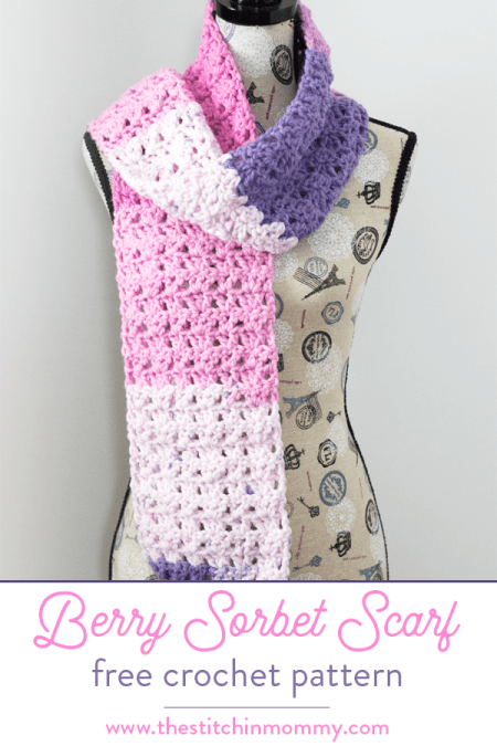 Berry Sorbet Scarf - Free Crochet Pattern | Scarf of the Month Club hosted by The Stitchin' Mommy and Oombawka Design | www.thestitchinmommy.com #ScarfoftheMonthClub2018