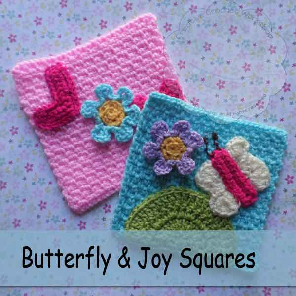 Butterfly and Joy Squares - Free Crochet Pattern - The Stitchin Mommy