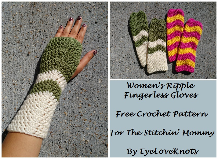 Womens Ripple Fingerless Gloves Free Crochet Pattern The