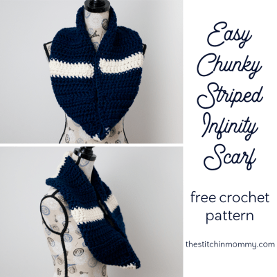 Easy Chunky Striped Infinity Scarf – Free Crochet Pattern