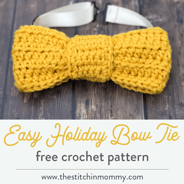 Easy Holiday Bow Tie - Free Crochet Pattern - The Stitchin Mommy