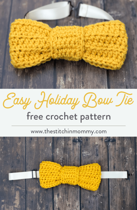 Easy Holiday Bow Tie - Free Crochet Pattern | www.thestitchinmommy.com #CALCentralCrochet