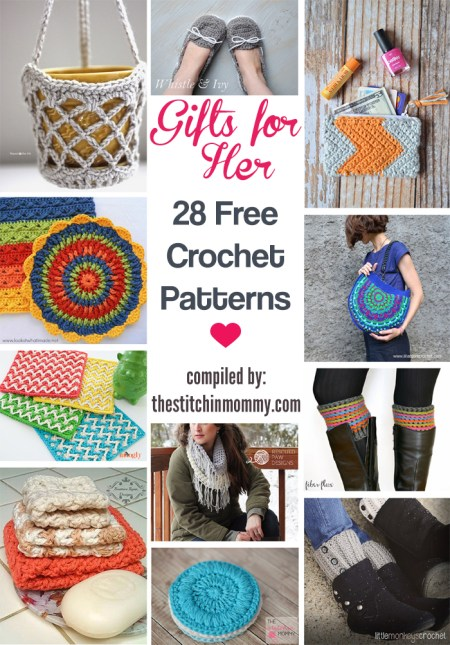 Handmade Gifts for Her - 28 Free Crochet Patterns compiled by The Stitchin' Mommy | www.thestitchinmommy.com