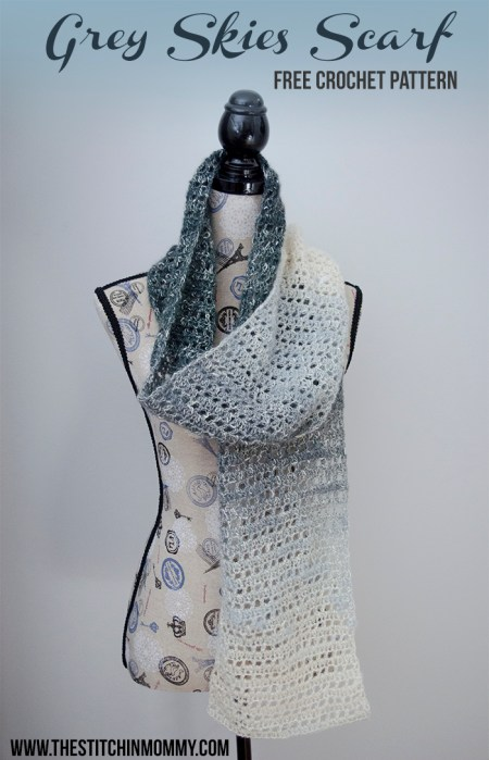 Grey Skies Scarf - Free Crochet Pattern - Scarf of the Month Club hosted by The Stitchin' Mommy and Oombawka Design | www.thestitchinmommy.com
