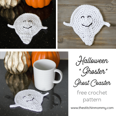 "Halloween ""Ghoster"" Ghost Coaster – Free Crochet Pattern"
