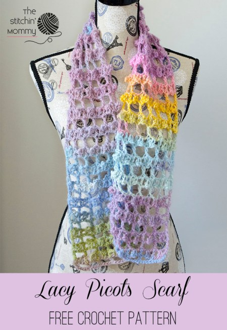 Lacy Picots Scarf - Free Crochet Pattern - Scarf of the Month Club hosted by The Stitchin' Mommy and Oombawka Design | www.thestitchinmommy.com