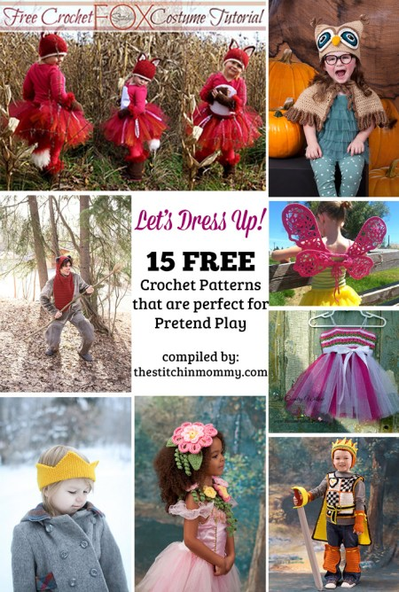 Let's Dress Up! 15 Free Crochet Patterns That Are Perfect for Pretend Play compiled by The Stitchin' Mommy   www.thestitchinmommy.com