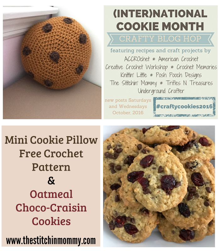 Mini Cookie Pillow - Free Crochet Pattern and Oatmeal Choco-Craisin Cookie Recipe | www.thestitchinmommy.com