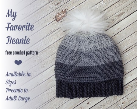 My Favorite Beanie - Free Crochet Pattern Sizes Preemie to Adult Large | www.thestitchinmommy.com