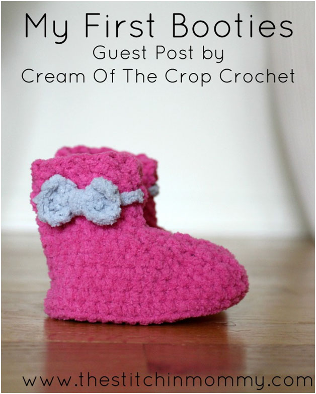 My First Booties - Free Crochet Pattern by Guest Contributor Cream of the Crop Crochet for The Stitchin' Mommy | www.thestitchinmommy.com