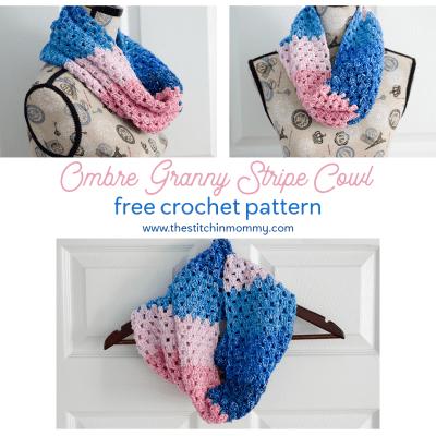 Ombre Granny Stripe Cowl – Free Crochet Pattern