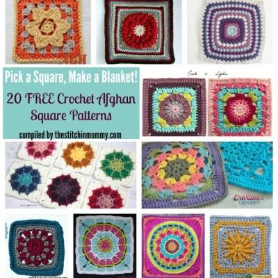 Pick a Square Make a Blanket – 20 Free Crochet Afghan Squares