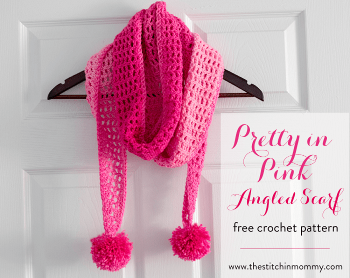 Pretty In Pink Angled Scarf Free Crochet Pattern The Stitchin Mommy