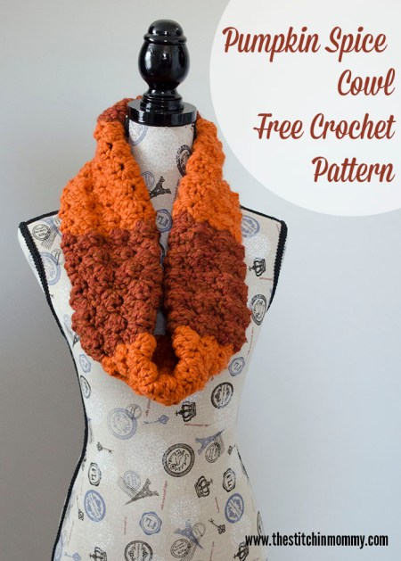 Pumpkin Spice Cowl - Free Crochet Pattern - Scarf of the Month Club hosted by The Stitchin' Mommy and Oombawka Design | www.thestitchinmommy.com