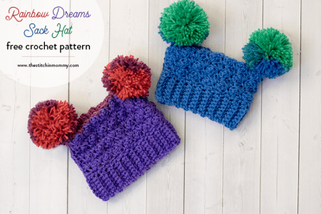 Rainbow Dreams Sack Hat - Free Crochet Pattern in 8 Sizes from Preemie to 3-5 Years | www.thestitchinmommy.com