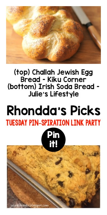 Rhondda's Picks | Challah Jewish Egg Bread/Irish Soda Bread| Tuesday PIN-spiration Link Party www.thestitchinmommy.com