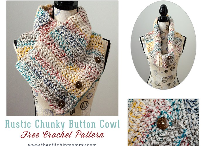 Rustic Chunky Button Cowl – Free Crochet Pattern