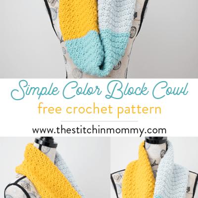 Simple Color Block Cowl – Free Crochet Pattern