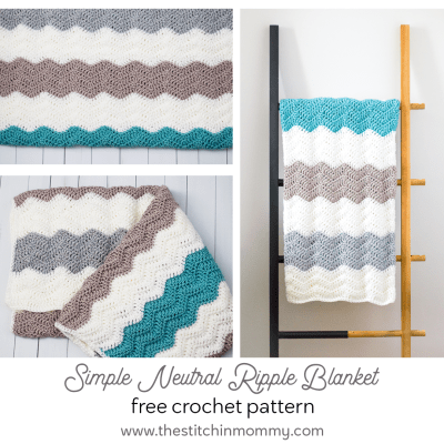 Simple Neutral Ripple Blanket – Free Crochet Pattern