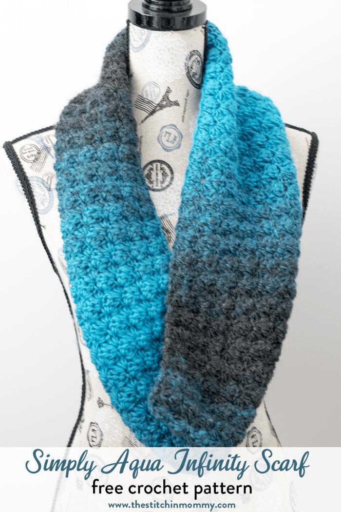 Simply Aqua Infinity Scarf Free Crochet Pattern The Stitchin Mommy