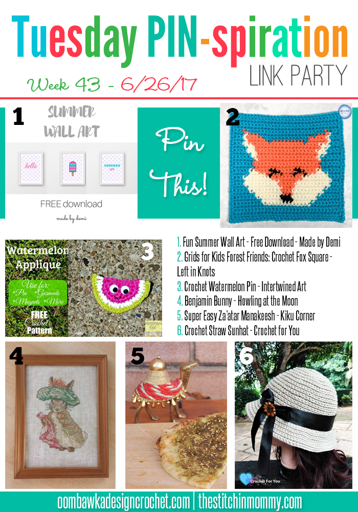 The NEW Tuesday PIN-spiration Link Party Week 43 (6/26/2017) - Rhondda and Amy's Favorite Projects | www.thestitchinmommy.com