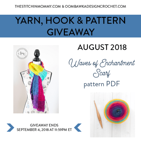 Yarn, Hook and Pattern Giveaway 4th Tuesday Each Month from The Stitchin' Mommy and Oombawka Design!   www.thestitchinmommy.com