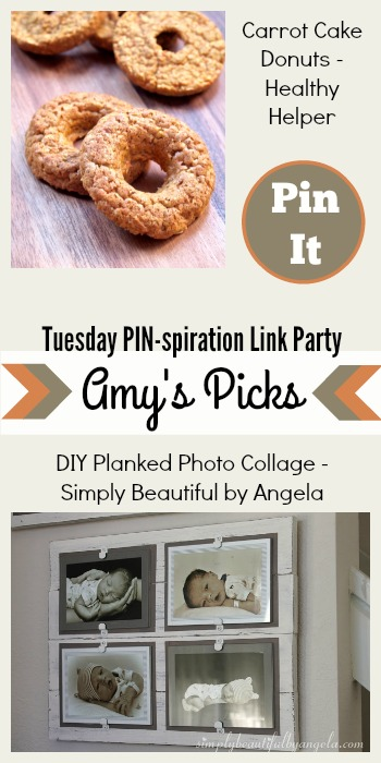 Amy's Picks | Carrot Cake Donuts/DIY Planked Photo Collage | Tuesday PIN-spiration Link Party www.thestitchinmommy.com