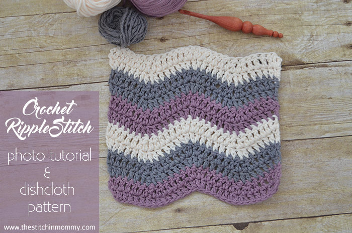 Let's Learn a New Crochet Stitch Pattern - Kitchen Edition: Crochet Ripple Stitch Photo Tutorial and Dishcloth Pattern | www.thestitchinmommy.com