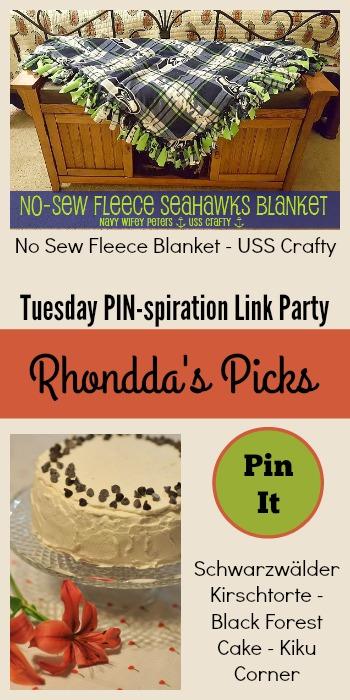 Rhondda's Picks | No-Sew Fleece Blanket/Black Forest Cake | Tuesday PIN-spiration Link Party www.thestitchinmommy.com